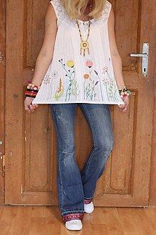 Topy - Letný bavlnený ručne maľovaný top XXL  LÚKA veľkosť 44 - 13391086_