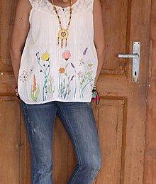 Topy - Letný bavlnený ručne maľovaný top LÚKA veľkosť 44 - 13391095_