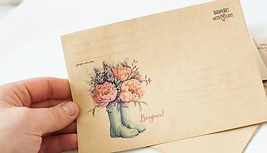"Papier - Craft obálka / Recyklovaná C6 ""Bonjour!"""" - 13392042_"