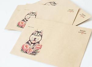 """Papier - Craft obálka / Recyklovaná C6 """"Husky&Pivonky"""""""" - 13392057_"""
