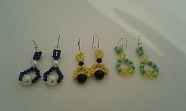 Náušnice - Naušnice-modre,žlte,zelene - 13389708_