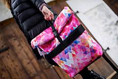 Batohy - Rolovací batoh Růžové trojúhelníky - velký - 13390401_