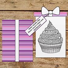 Papiernictvo - Pohľadnica s relaxačnou omaľovánkou cupcake (čučoriedková príchuť) - 13391152_