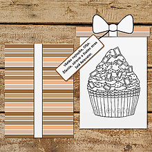 Papiernictvo - Pohľadnica s relaxačnou omaľovánkou cupcake (čokoládová príchuť) - 13391190_