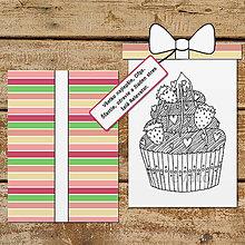 Papiernictvo - Pohľadnica s relaxačnou omaľovánkou cupcake (jahodová príchuť) - 13391198_