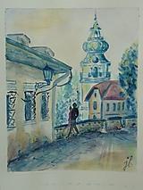 Obrazy - Banská Štiavnica - dvojica, akv. - 13394198_