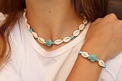 Sady šperkov - Súprava - Mušľový Choker a náramok s korytnačkou - 13394102_