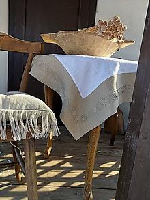 Úžitkový textil - Ľanový obrus Grandma's Story Natur - 13394454_