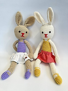 Hračky - Zajka v sukničke hačkovaná hračka - 13395468_