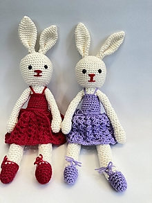 Hračky - Zajka v sukničke hačkovaná hračka - 13395484_