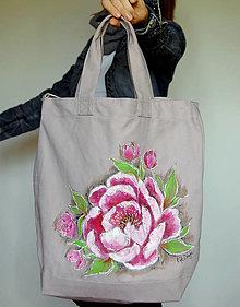 Veľké tašky - Maľovaná taška Peony - 13396579_