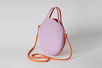 Kabelky - Provazová kabelka kulatá fialovooranžová - 13397600_