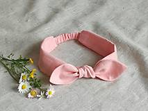 Ozdoby do vlasov - Ľanová čelenka ,ružová - 13397976_