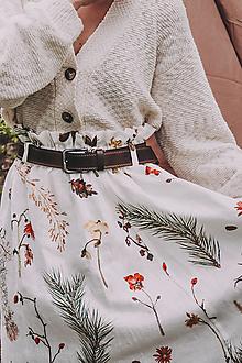 Sukne - Akvarelová, ľanová sukňa na gumu - 13398693_