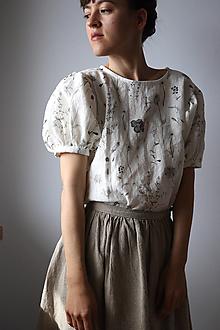 Topy, tričká, tielka - Akvarelová, ľanová Blúzka Puff - 13399382_