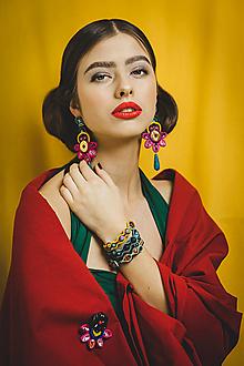 Náušnice - Šujtášové farebné náušnice Frida kvety - 13398631_