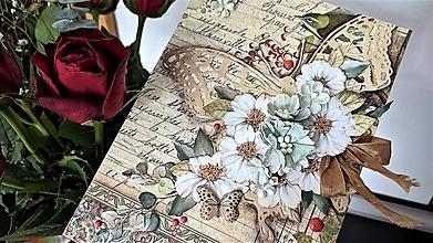 Papiernictvo - Motýľ a kvetinky pohľadnica - 13396543_