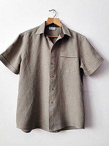 Oblečenie - Ľanová košeľa pánska - 13399693_