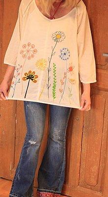 Topy - Letná ručne maľovaná blúzka XL Veľkosť 44 dlhý rukáv - 13397424_