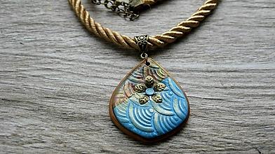 Náhrdelníky - Náhrdelník Art s bronzovým kvietkom, č. 3384 - 13396577_