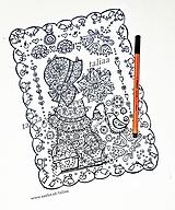 Kresby - Omaľovánka dievčatko a vtáčik - 13400016_