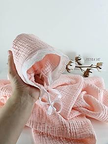 Čiapky - Svetloružový - detský mušelínový čepček - 13398908_
