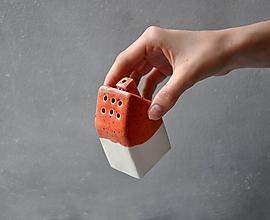 Nádoby - Cukornička dom oranžovo  jahodová - 13398072_