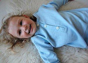Detské oblečenie - Ľanová UNISEX košeľa s bavlnenou výšivkou - 13399794_