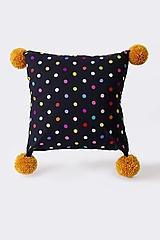 Úžitkový textil - Vankúš čierny vyšívaný bodkovaný - 13403924_