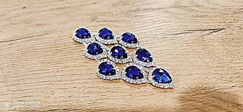Galantéria - Luxusná našívacia aplikácia 60 x 120 mm -Kráľovská Modrá (Modrá) - 13401148_