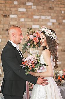 Ozdoby do vlasov - Veľký ružový svadobný venček - 13403227_