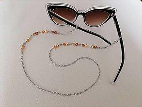 Iné šperky - Swarovski - retiazka na okuliare - béžovo/hnedo/oranžová - chirurgická oceľ - 13402332_