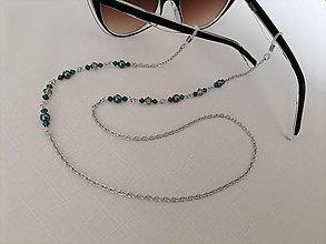 Iné šperky - Swarovski - retiazka na okuliare - zeleno/sivá - chirurgická oceľ - 13402403_