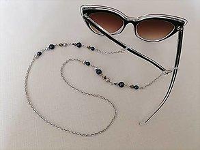 Iné šperky - Swarovski - retiazka na okuliare - tmavomodrá/béžová/zlatá - chirurgická oceľ - 13402457_