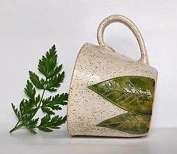 Nádoby - Keramická šálka veľká - LISTY - 13402176_