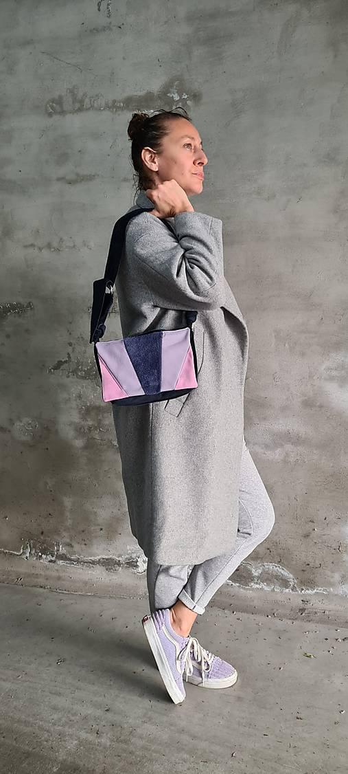 Kabelky - PurpleRain kožená kabelka z brúsenej kože - 13403327_