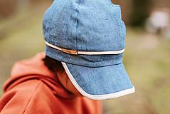Detské čiapky - Šiltovka 100% ľan denim soft - 13403895_