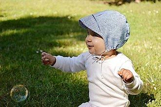 Detské čiapky - čepček 100% ľan pásik - 13400529_