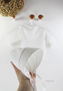 Detské súpravy - Čistá krása, ľanová - detská košieľka a čepček v darčekovom balení - 13400604_
