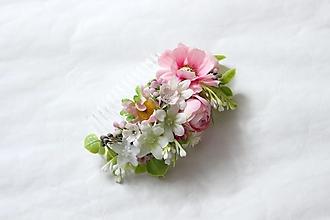 Ozdoby do vlasov - Hrebienok v ružovom - 13401448_