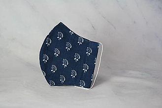 Rúška - Dámske modrotlačové rúško 2-vrstvové na vkladanie  tvarované - 13401503_