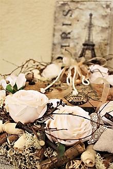 Dekorácie - Smotanový veniec s ružami - 13404453_