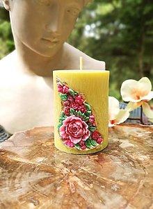 Svietidlá a sviečky - Sviečka romantická, žltá s kvetinkami - 13402074_