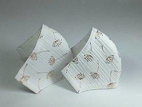 Rúška - Rúško s drôtikom,biely mušelín so zlatou - 13404967_