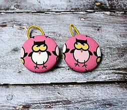 Ozdoby do vlasov - Gumičky do vlasov s buttonmi Ružové sovy - 13406152_
