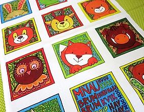 Textil - Bavlnený panel UŠI SI SÁM - Textilná knižočka leporelo (Zvieratká z lesa) - 13404987_