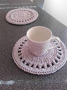 Úžitkový textil - Prestieranie štóla ružovo šedá  (okrúhle priemer 25cm) - 13404802_