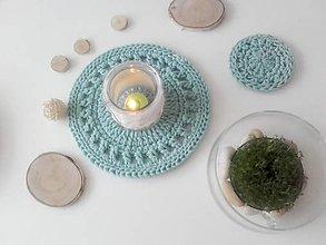 Úžitkový textil - Prestieranie okrúhle mentol šedá - 13404878_