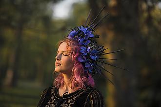"""Ozdoby do vlasov - Halo korunka """"polnočné kvety"""" - 13405330_"""