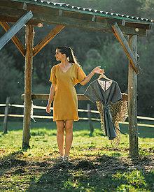 Šaty - ŠATY LINEN LOVE - HORČICOVÁ - 13408140_
